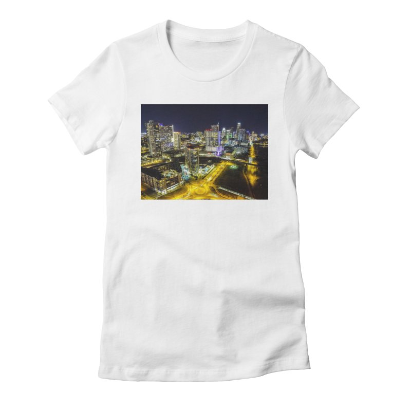Austin Night Skyline / Custom Merchandise / Aerial Photography Women's Fitted T-Shirt by Holp Photography Artist Shop