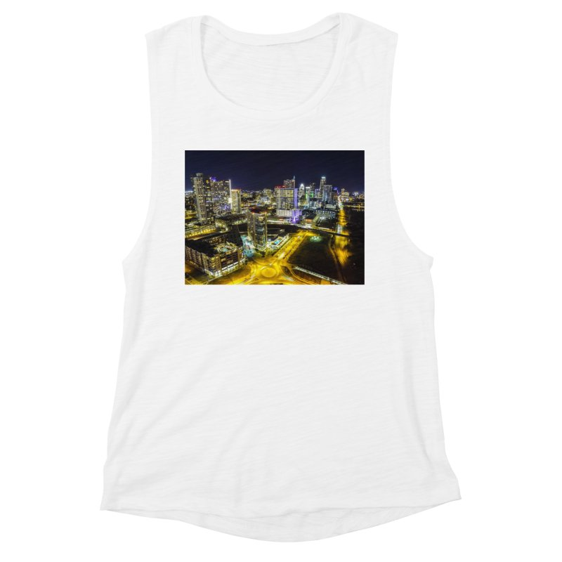 Austin Night Skyline / Custom Merchandise / Aerial Photography Women's Muscle Tank by Holp Photography Artist Shop