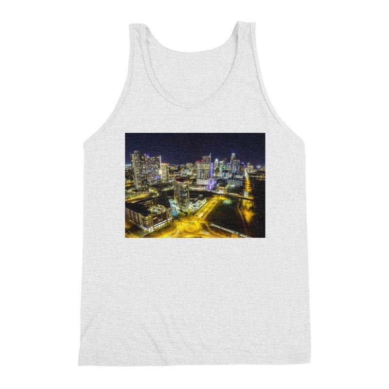 Austin Night Skyline / Custom Merchandise / Aerial Photography Men's Triblend Tank by Holp Photography Artist Shop