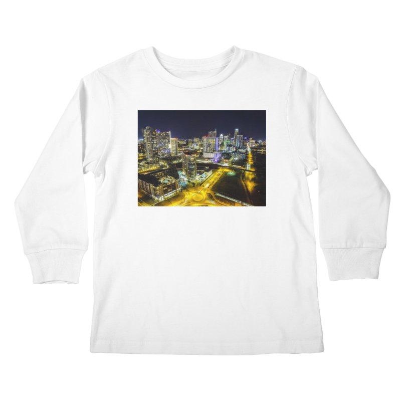 Austin Night Skyline / Custom Merchandise / Aerial Photography Kids Longsleeve T-Shirt by Holp Photography Artist Shop