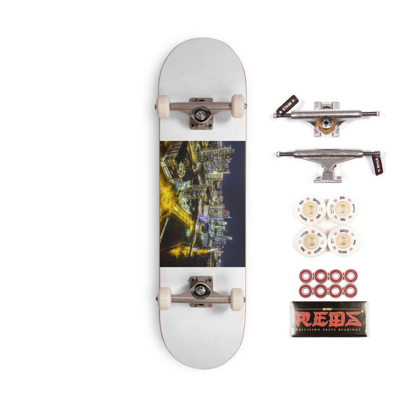 Austin Night Skyline / Custom Merchandise / Aerial Photography Accessories Complete - Pro Skateboard by Holp Photography Artist Shop