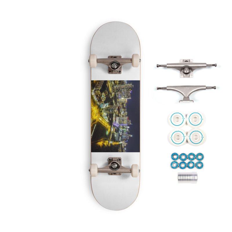 Austin Night Skyline / Custom Merchandise / Aerial Photography Accessories Complete - Basic Skateboard by Holp Photography Artist Shop