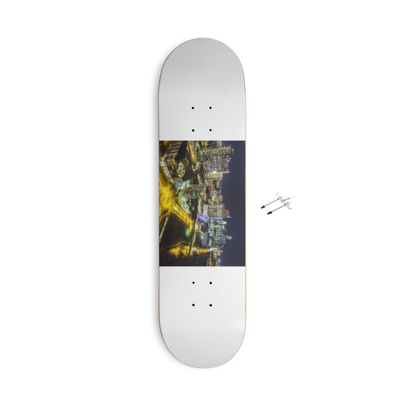 Austin Night Skyline / Custom Merchandise / Aerial Photography Accessories With Hanging Hardware Skateboard by Holp Photography Artist Shop