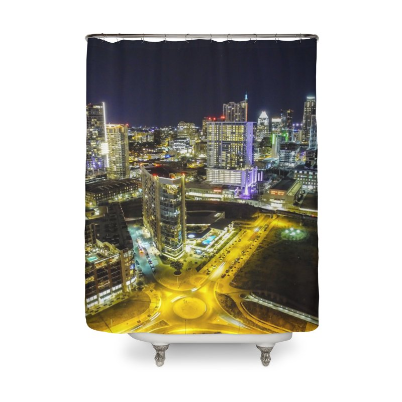 Austin Night Skyline / Custom Merchandise / Aerial Photography Home Shower Curtain by Holp Photography Artist Shop