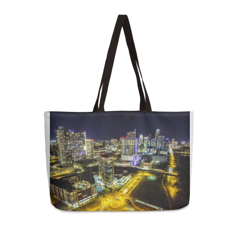 Austin Night Skyline / Custom Merchandise / Aerial Photography Accessories Weekender Bag Bag by Holp Photography Artist Shop