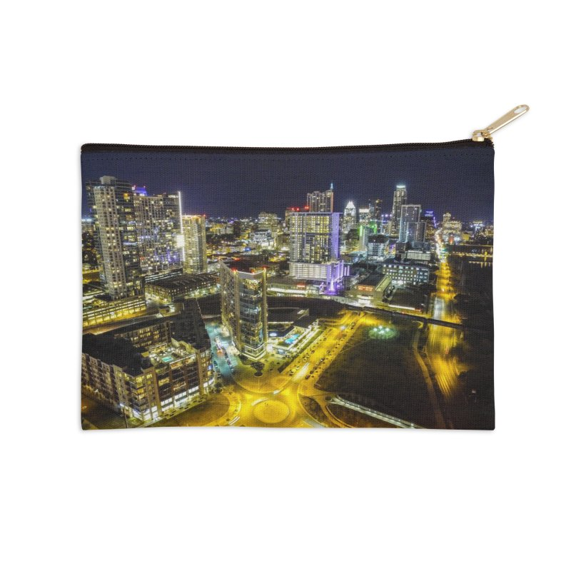 Austin Night Skyline / Custom Merchandise / Aerial Photography Accessories Zip Pouch by Holp Photography Artist Shop