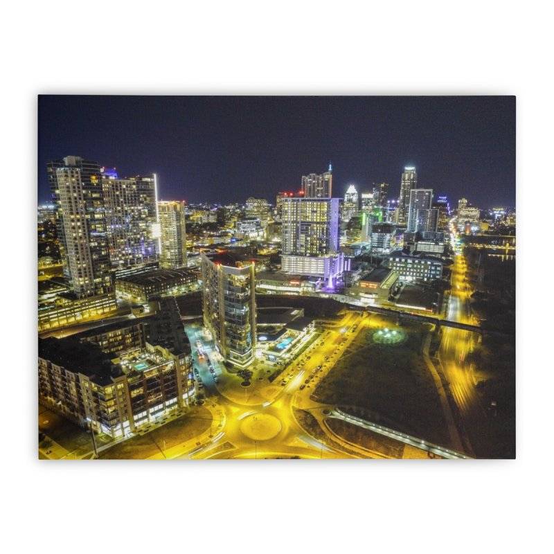 Austin Night Skyline / Custom Merchandise / Aerial Photography Home Stretched Canvas by Holp Photography Artist Shop