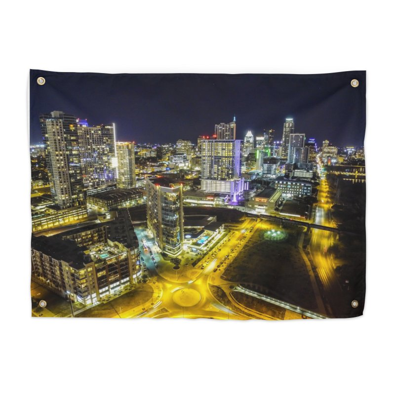 Austin Night Skyline / Custom Merchandise / Aerial Photography Home Tapestry by Holp Photography Artist Shop