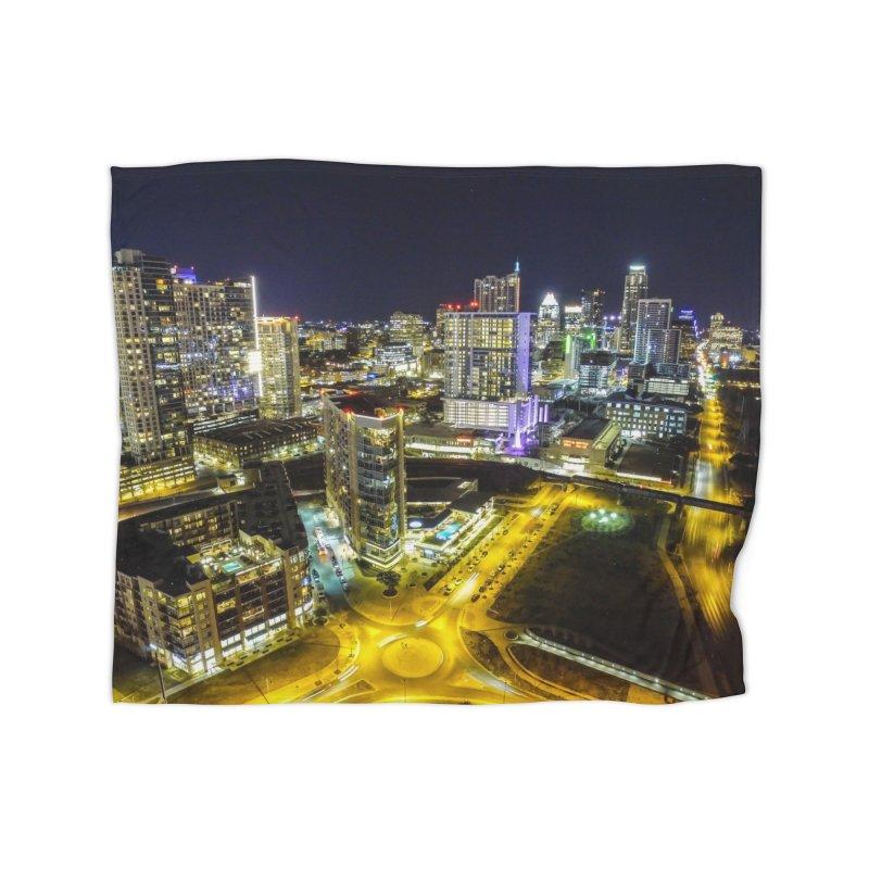 Austin Night Skyline / Custom Merchandise / Aerial Photography Home Fleece Blanket Blanket by Holp Photography Artist Shop