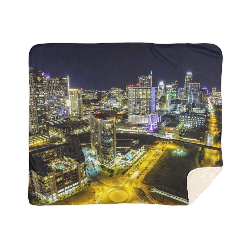 Austin Night Skyline / Custom Merchandise / Aerial Photography Home Sherpa Blanket Blanket by Holp Photography Artist Shop