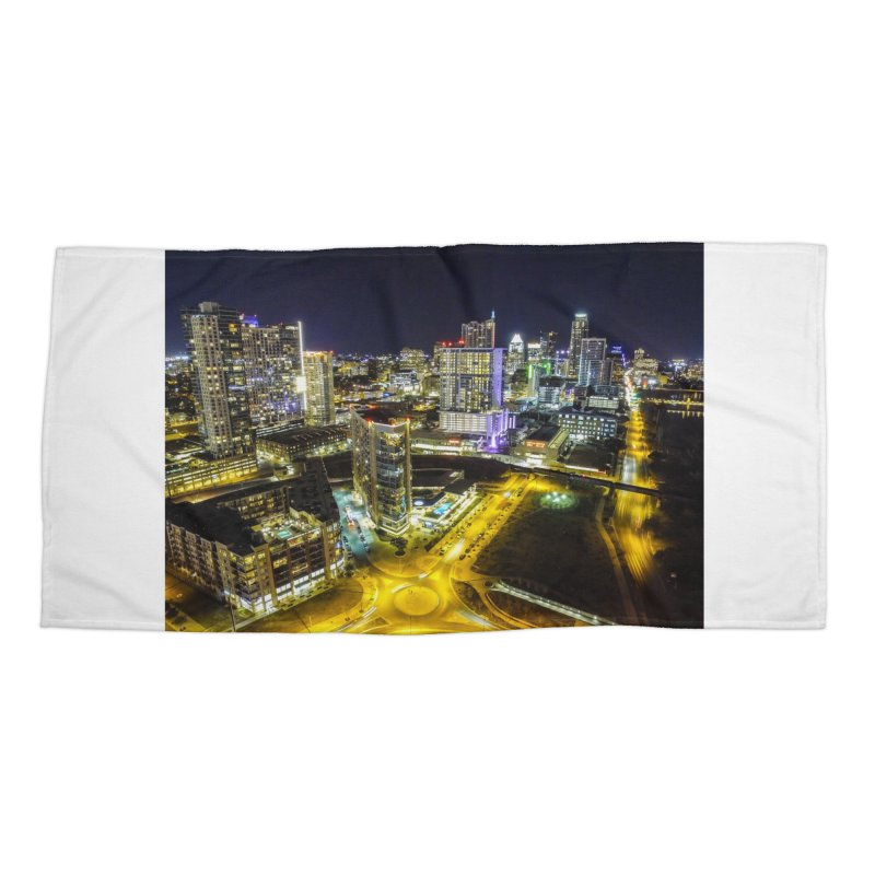 Austin Night Skyline / Custom Merchandise / Aerial Photography Accessories Beach Towel by Holp Photography Artist Shop