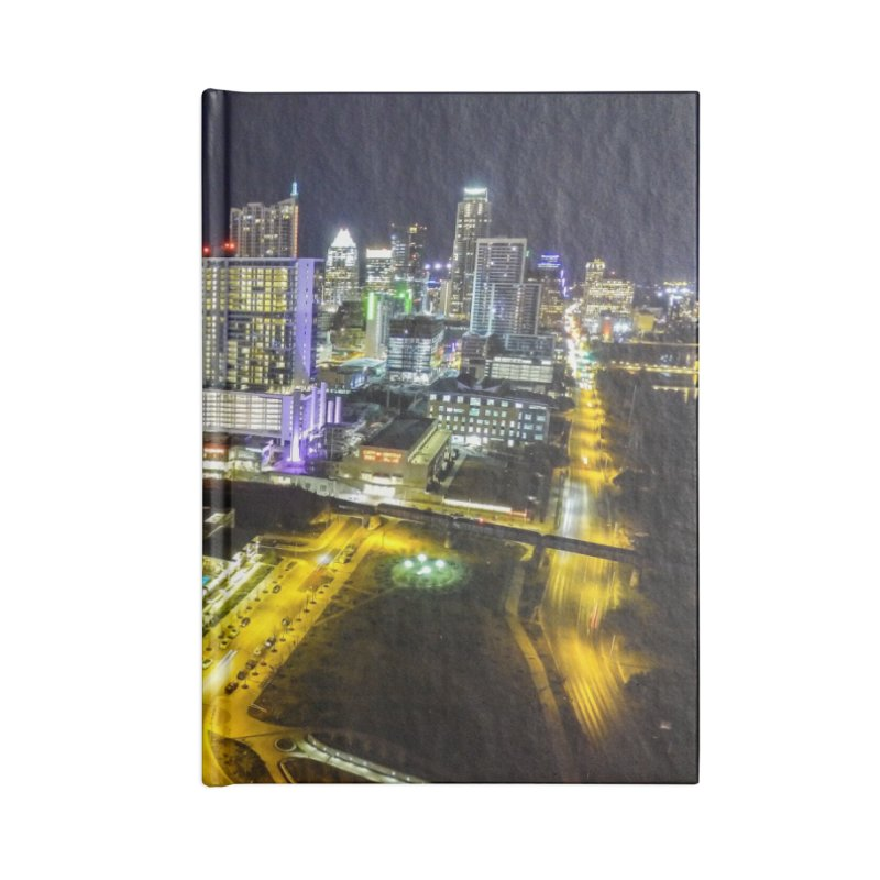 Austin Night Skyline / Custom Merchandise / Aerial Photography Accessories Lined Journal Notebook by Holp Photography Artist Shop