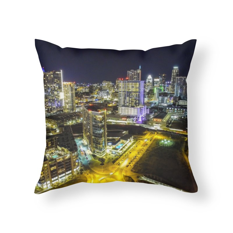 Austin Night Skyline / Custom Merchandise / Aerial Photography Home Throw Pillow by Holp Photography Artist Shop