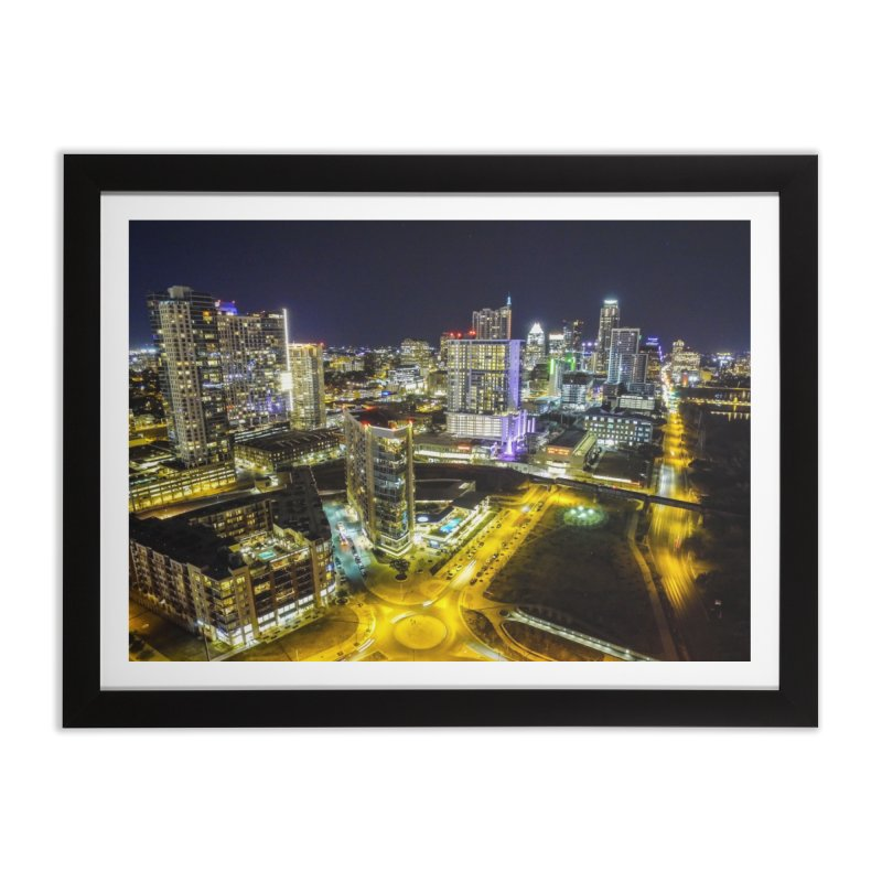 Austin Night Skyline / Custom Merchandise / Aerial Photography Home Framed Fine Art Print by Holp Photography Artist Shop