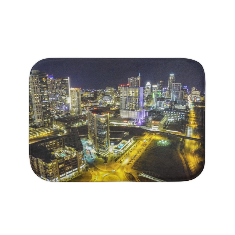 Austin Night Skyline / Custom Merchandise / Aerial Photography Home Bath Mat by Holp Photography Artist Shop