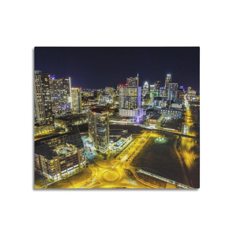 Austin Night Skyline / Custom Merchandise / Aerial Photography Home Mounted Aluminum Print by Holp Photography Artist Shop