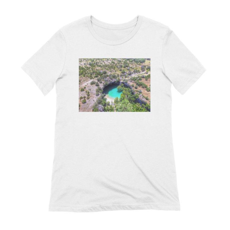 Hamilton Pool / Custom Merchandise / Aerial Photography Women's Extra Soft T-Shirt by Holp Photography Artist Shop