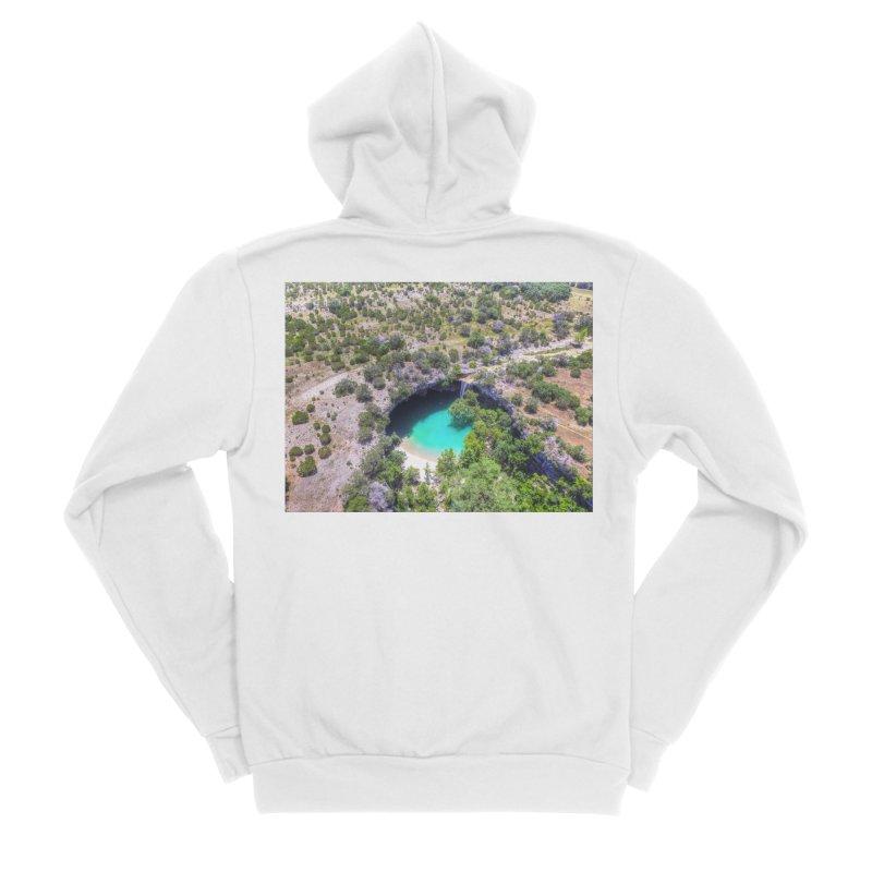 Hamilton Pool / Custom Merchandise / Aerial Photography Men's Sponge Fleece Zip-Up Hoody by Holp Photography Artist Shop