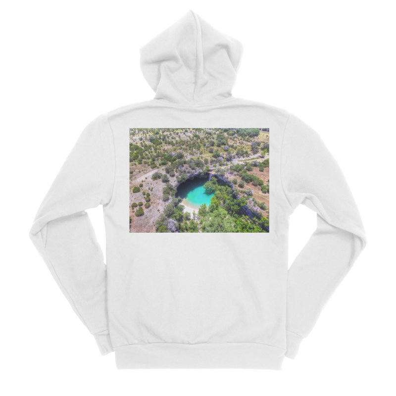 Hamilton Pool / Custom Merchandise / Aerial Photography Women's Sponge Fleece Zip-Up Hoody by Holp Photography Artist Shop