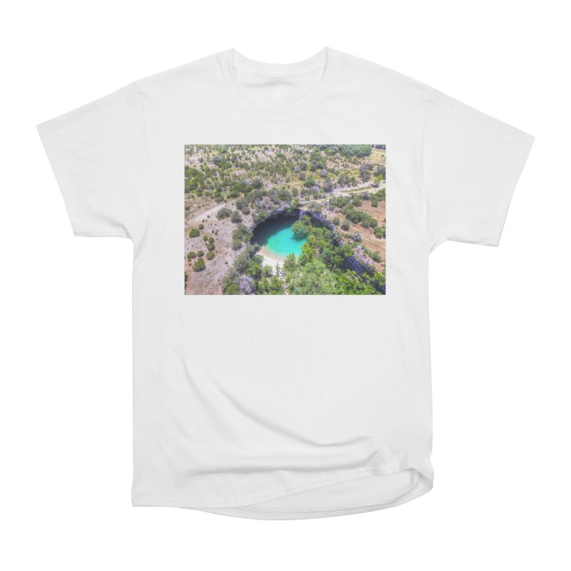 Hamilton Pool / Custom Merchandise / Aerial Photography Men's Heavyweight T-Shirt by Holp Photography Artist Shop