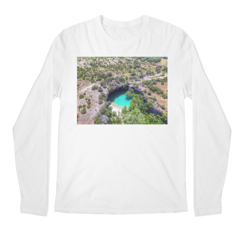 Hamilton Pool / Custom Merchandise / Aerial Photography Men's Regular Longsleeve T-Shirt by Holp Photography Artist Shop