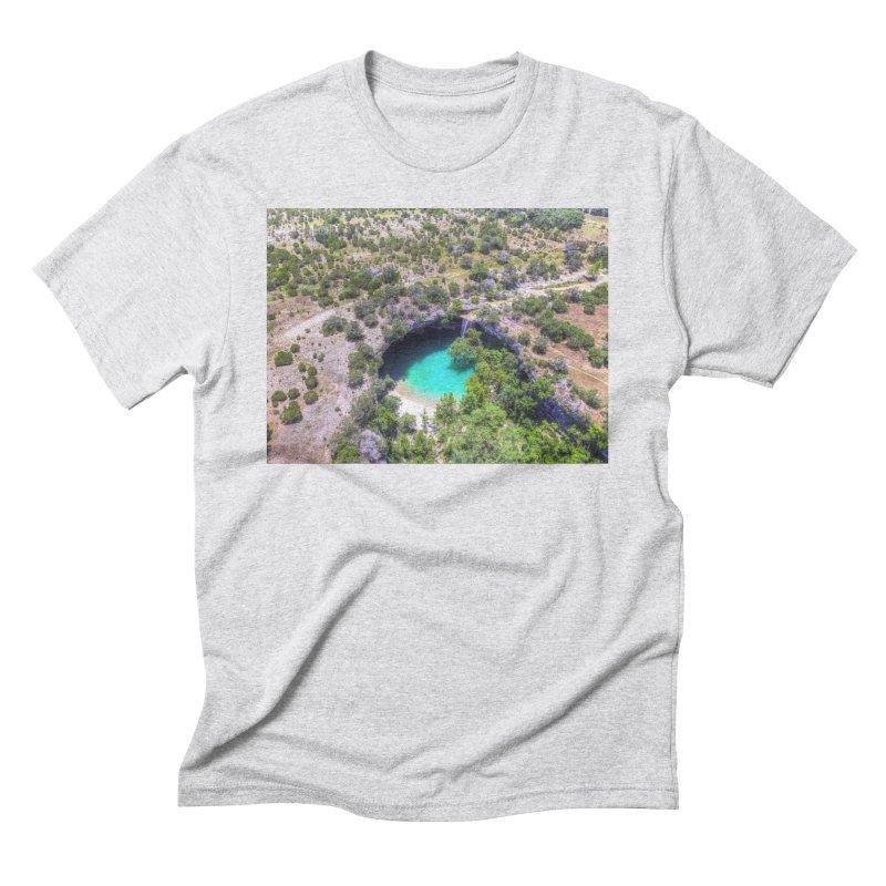 Hamilton Pool / Custom Merchandise / Aerial Photography Men's Triblend T-Shirt by Holp Photography Artist Shop