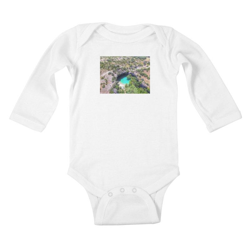 Hamilton Pool / Custom Merchandise / Aerial Photography Kids Baby Longsleeve Bodysuit by Holp Photography Artist Shop