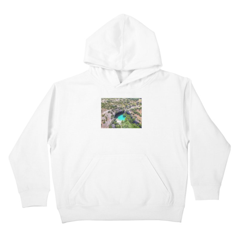 Hamilton Pool / Custom Merchandise / Aerial Photography Kids Pullover Hoody by Holp Photography Artist Shop