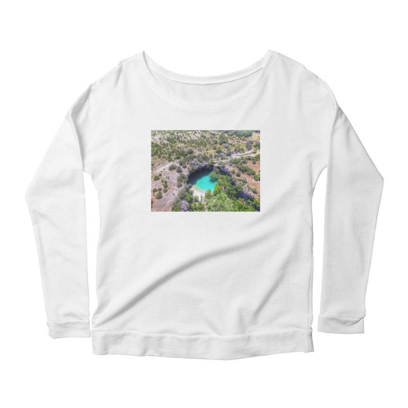 Hamilton Pool / Custom Merchandise / Aerial Photography Women's Scoop Neck Longsleeve T-Shirt by Holp Photography Artist Shop
