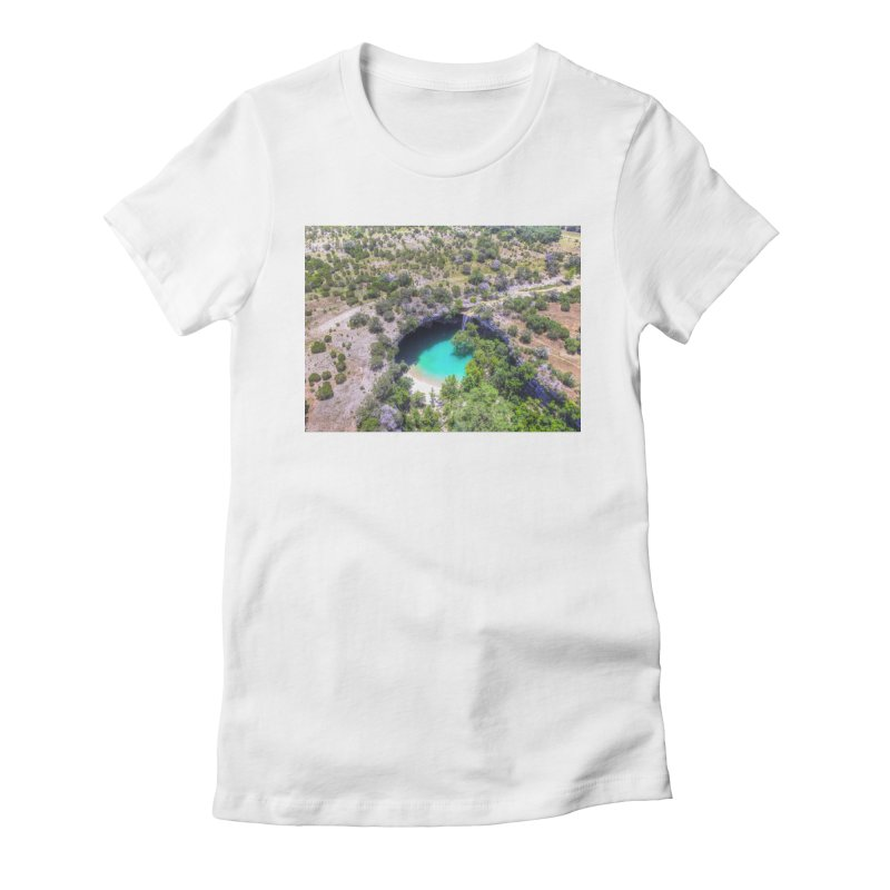 Hamilton Pool / Custom Merchandise / Aerial Photography Women's Fitted T-Shirt by Holp Photography Artist Shop