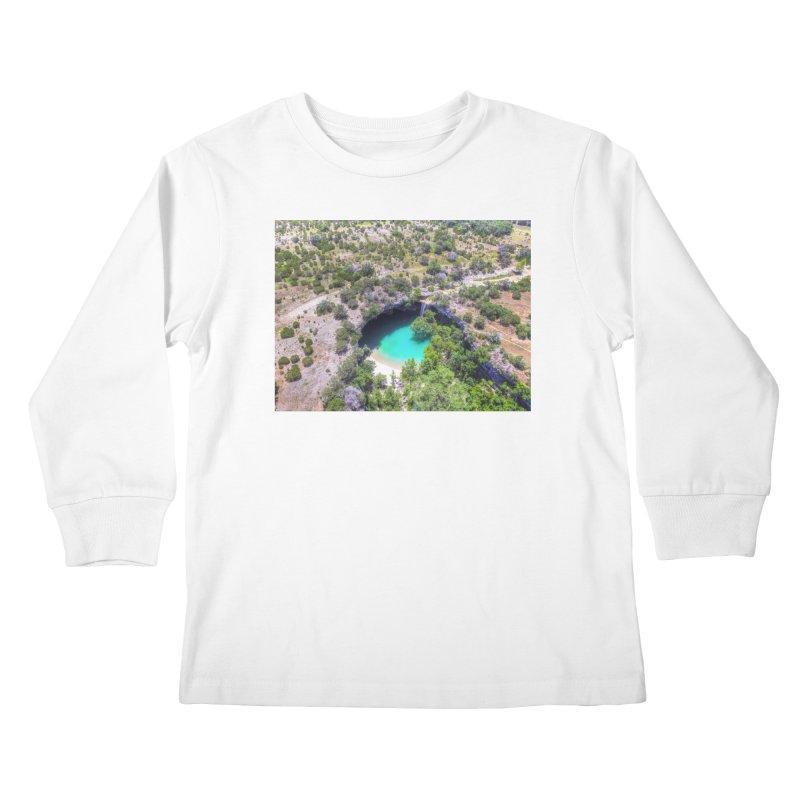 Hamilton Pool / Custom Merchandise / Aerial Photography Kids Longsleeve T-Shirt by Holp Photography Artist Shop
