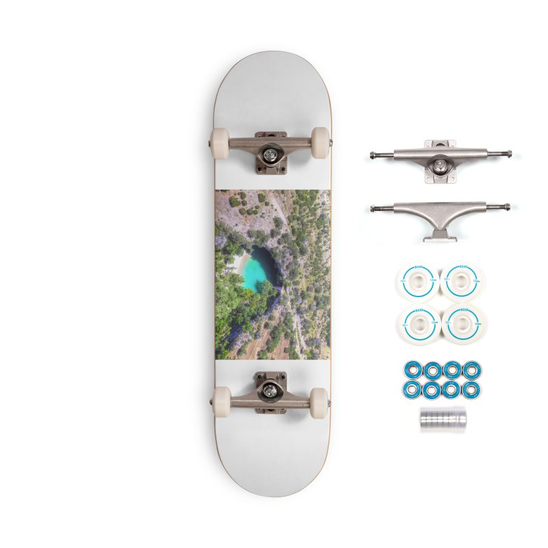 Hamilton Pool / Custom Merchandise / Aerial Photography Accessories Complete - Basic Skateboard by Holp Photography Artist Shop