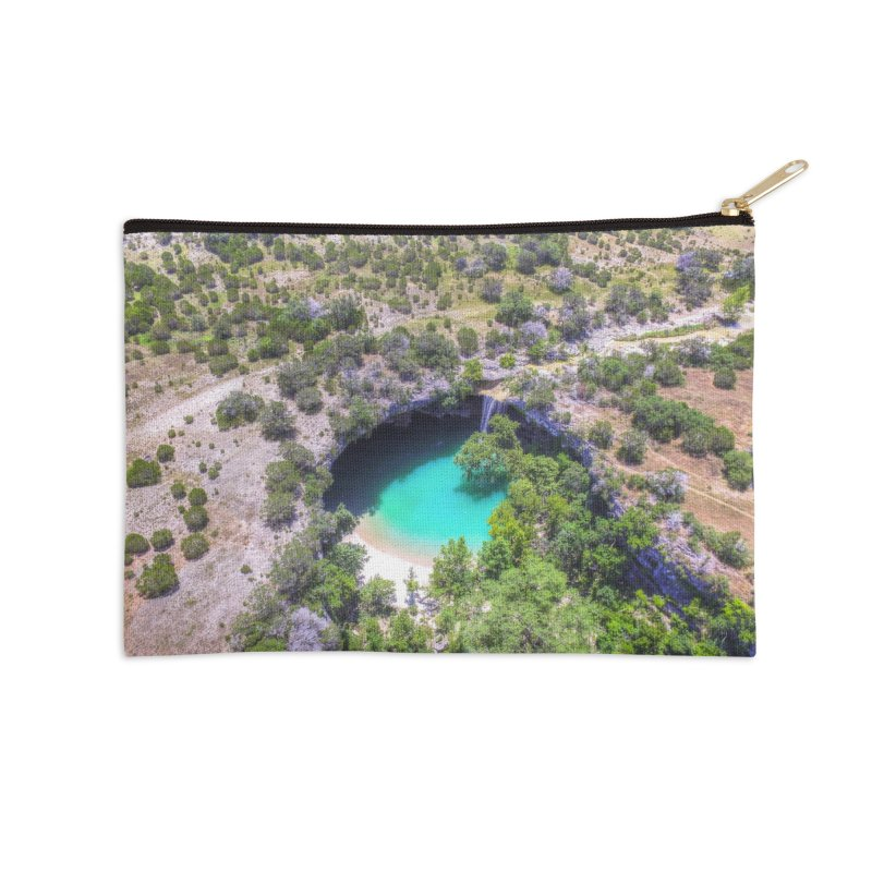 Hamilton Pool / Custom Merchandise / Aerial Photography Accessories Zip Pouch by Holp Photography Artist Shop