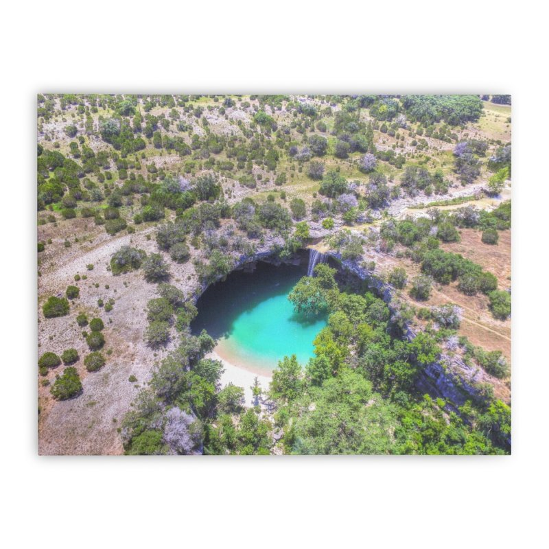 Hamilton Pool / Custom Merchandise / Aerial Photography Home Stretched Canvas by Holp Photography Artist Shop