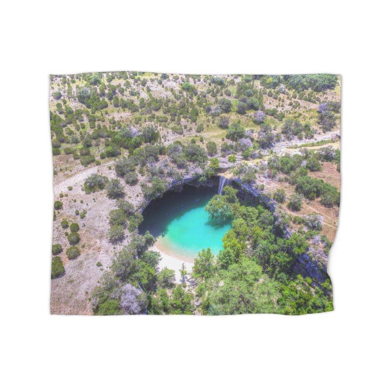 Hamilton Pool / Custom Merchandise / Aerial Photography Home Fleece Blanket Blanket by Holp Photography Artist Shop