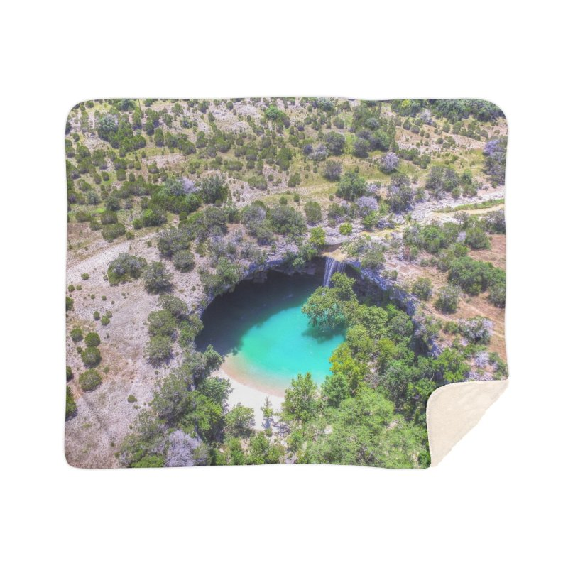 Hamilton Pool / Custom Merchandise / Aerial Photography Home Sherpa Blanket Blanket by Holp Photography Artist Shop