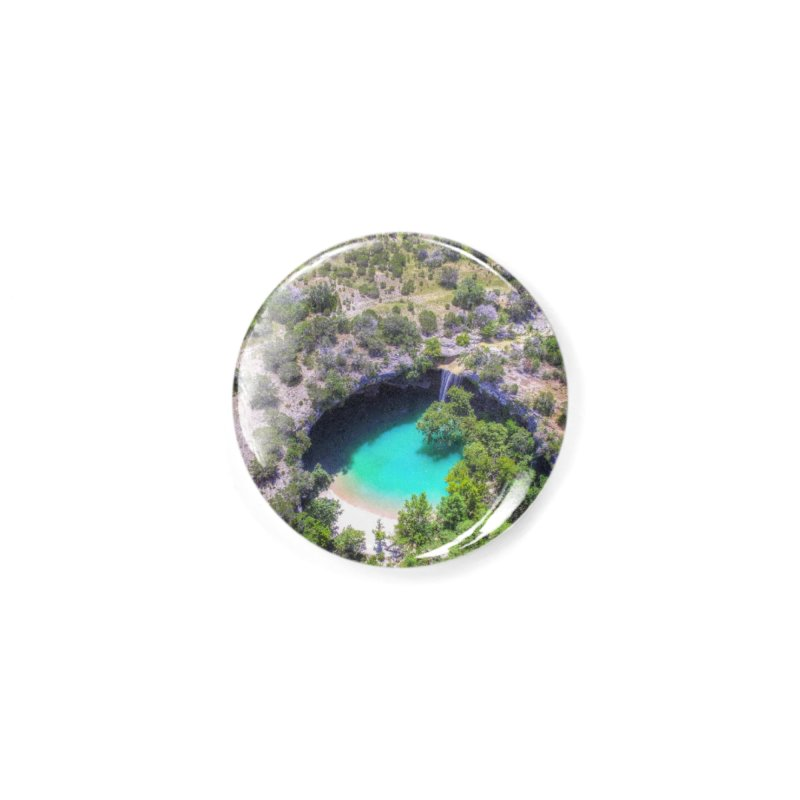 Hamilton Pool / Custom Merchandise / Aerial Photography Accessories Button by Holp Photography Artist Shop