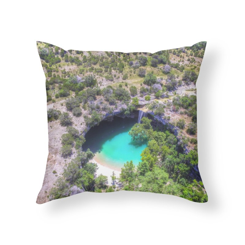Hamilton Pool / Custom Merchandise / Aerial Photography Home Throw Pillow by Holp Photography Artist Shop