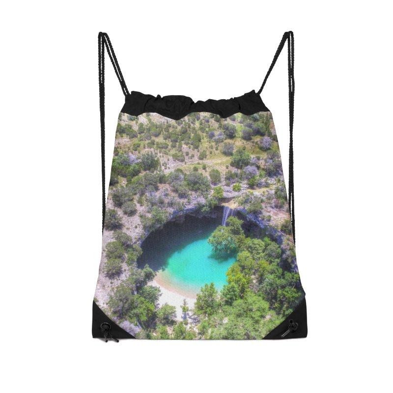 Hamilton Pool / Custom Merchandise / Aerial Photography Accessories Drawstring Bag Bag by Holp Photography Artist Shop