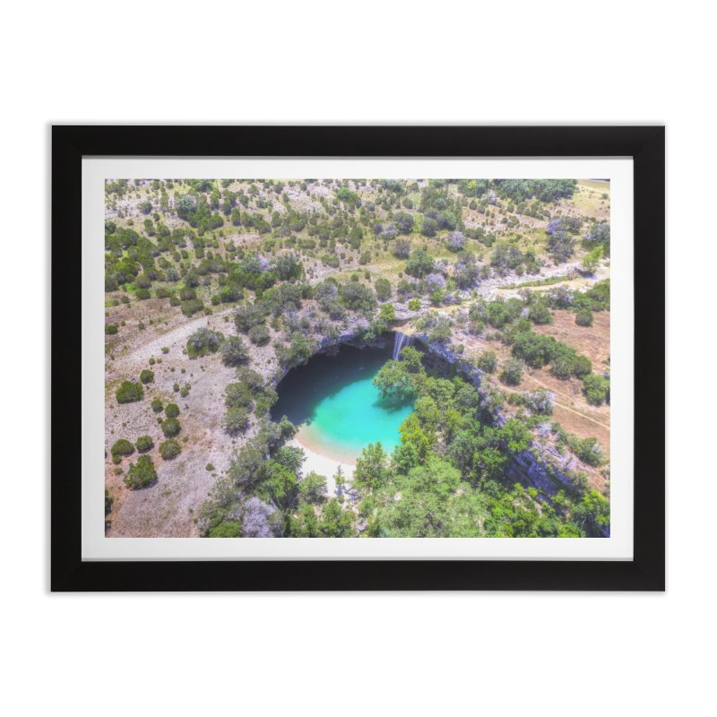 Hamilton Pool / Custom Merchandise / Aerial Photography Home Framed Fine Art Print by Holp Photography Artist Shop