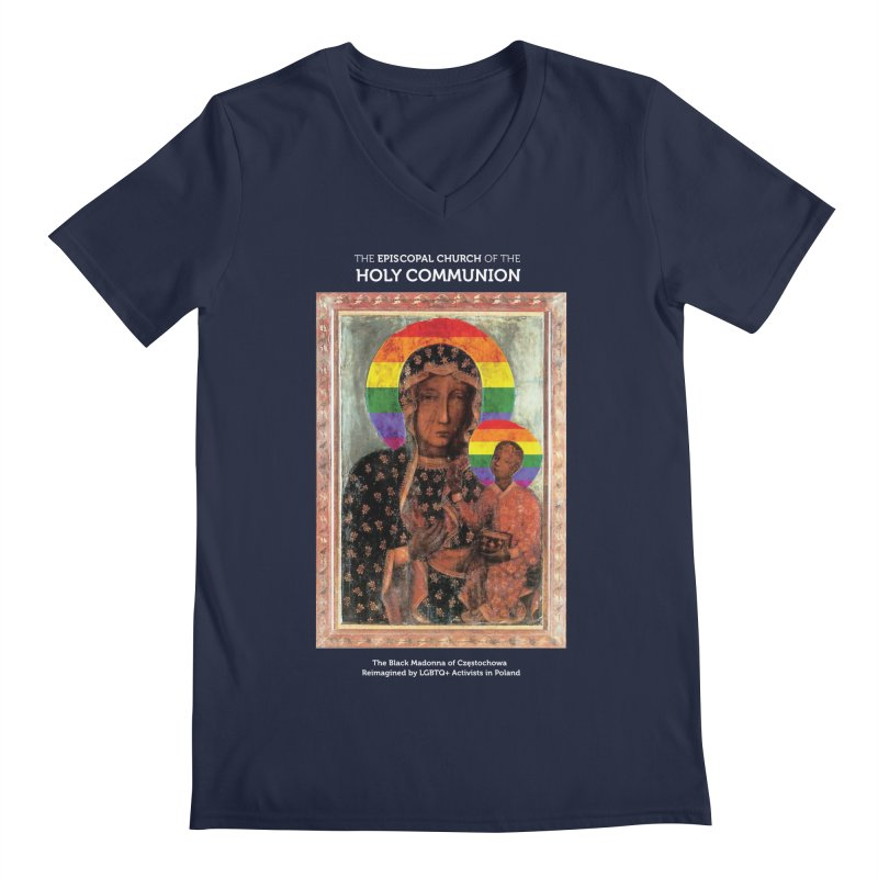 The Black Madonna of Częstochowa Men's Regular V-Neck by Holy Communion's Artist Shop