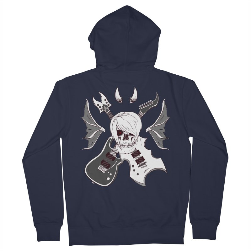 Skull & Guitars (B&W) by Holyengine Men's Zip-Up Hoody by Holyengine's Shop