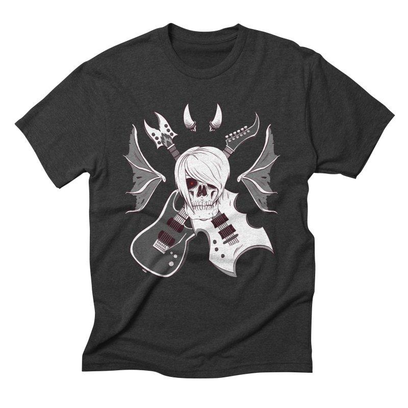 Skull & Guitars (B&W) by Holyengine Men's Triblend T-Shirt by Holy Shop