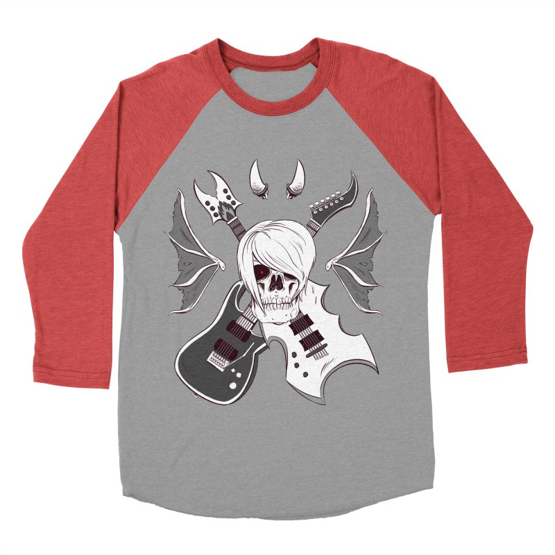 Skull & Guitars (B&W) by Holyengine Men's Baseball Triblend T-Shirt by Holyengine's Shop