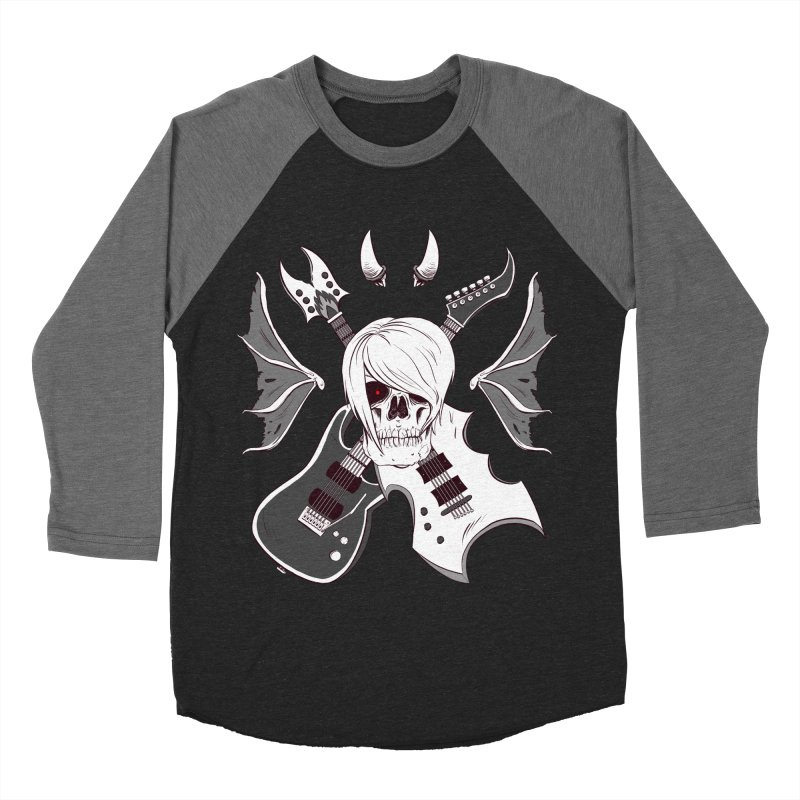 Skull & Guitars (B&W) by Holyengine Men's Baseball Triblend T-Shirt by Holyengine's Shop