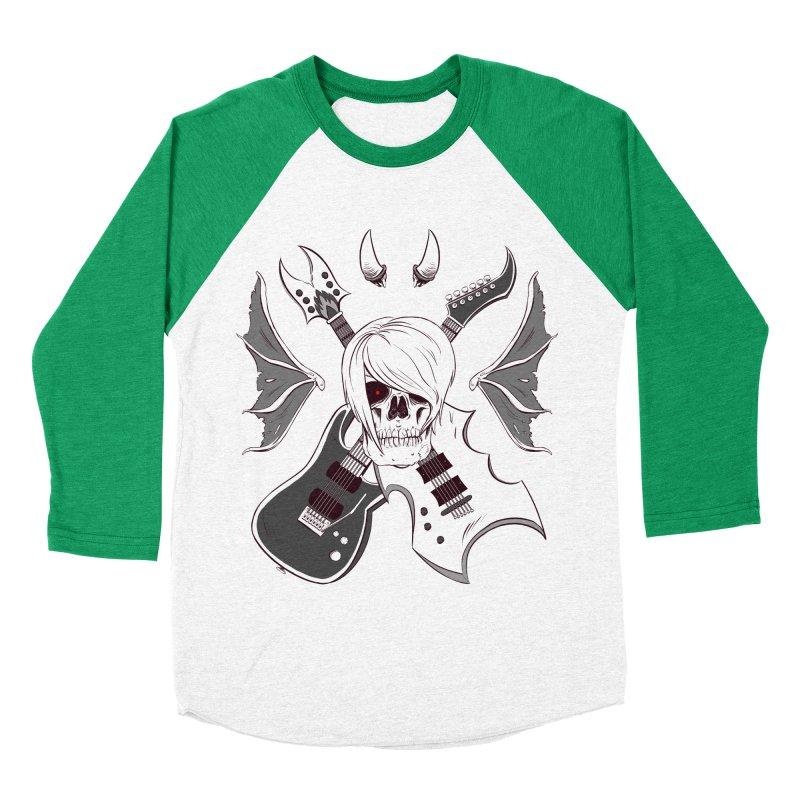 Skull & Guitars (B&W) by Holyengine Men's Baseball Triblend T-Shirt by Holy Shop