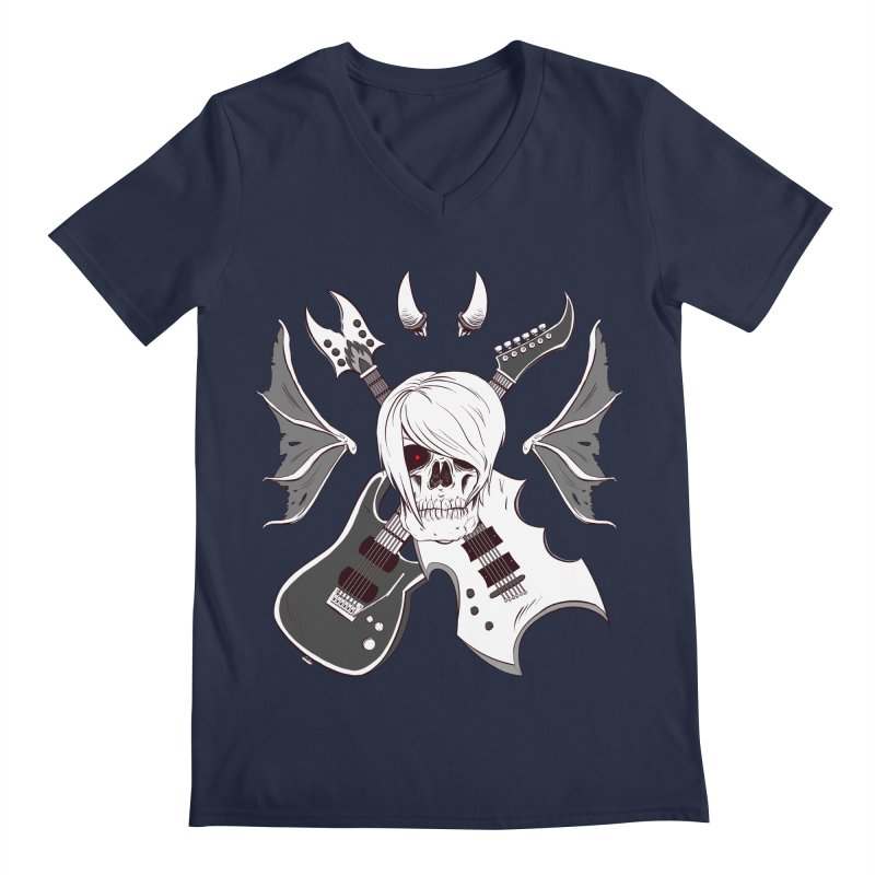 Skull & Guitars (B&W) by Holyengine Men's V-Neck by Holy Shop