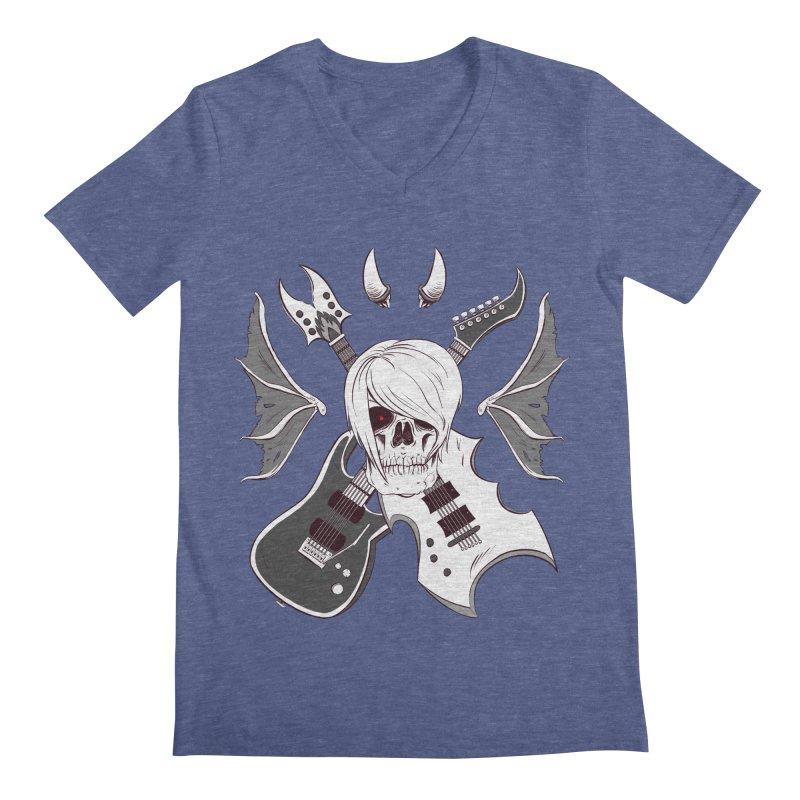 Skull & Guitars (B&W) by Holyengine Men's Regular V-Neck by Holy Shop