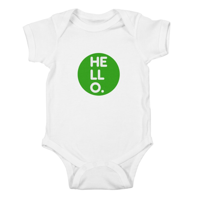 HELLO in Kids Baby Bodysuit White by Holy Magic Merch