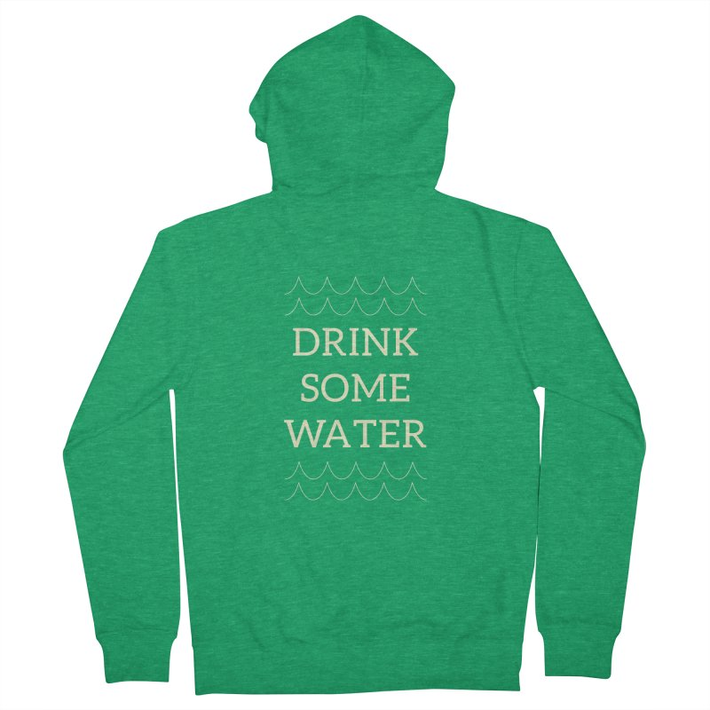 Drink Water Reminder Yellow Text Colorway Men's Zip-Up Hoody by Honeybee Clothing and Wares